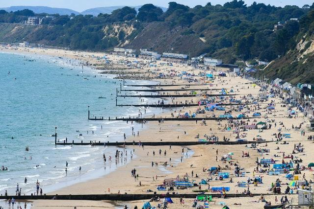 The sunshine brought crowds to Bournemouth beach