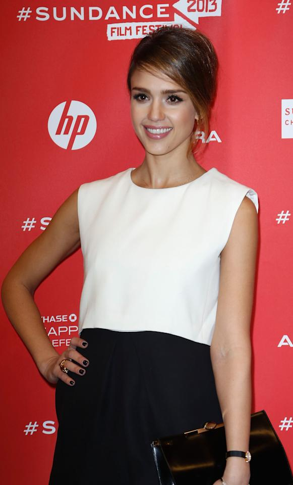 """PARK CITY, UT - JANUARY 23:  Actress Jessica Alba attends the """"A.C.O.D"""" Premiere during the 2013 Sundance Film Festival at Eccles Center Theatre on January 23, 2013 in Park City, Utah.  (Photo by Alexandra Wyman/Getty Images)"""