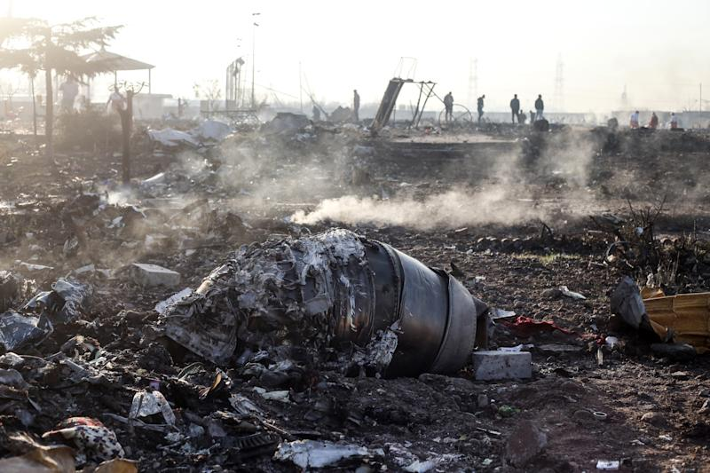 Debris from UIA752 lay at the scene of the crash in Shahedshahr:, Iran on jan. 8, 2020. (Photo: Mahmoud Hosseini/picture alliance via Getty Images)
