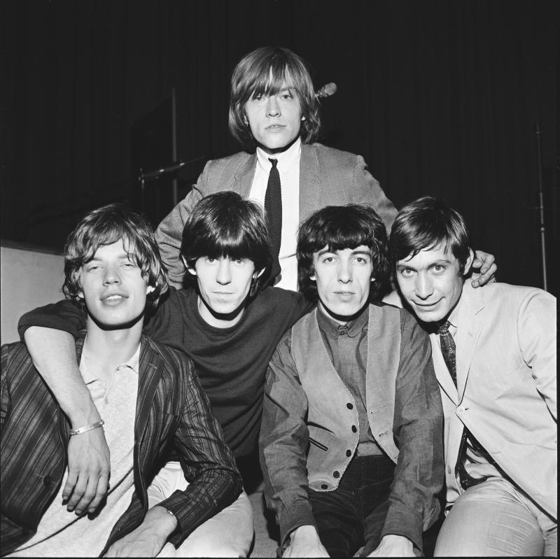 Group portrait of the Rolling Stones circa 1964. L-R Mick Jagger, Keith Richards, Brian Jones (back), Bill Wyman, Charlie Watts. (Photo: Stanley Bielecki/ASP/Getty Images)