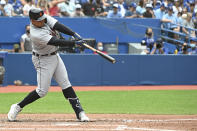 Detroit Tigers' Miguel Cabrera hits his 500th career home run in the sixth inning against the Toronto Blue Jays during a baseball game in Toronto, Sunday, Aug. 22, 2021. (Jon Blacker/The Canadian Press via AP)