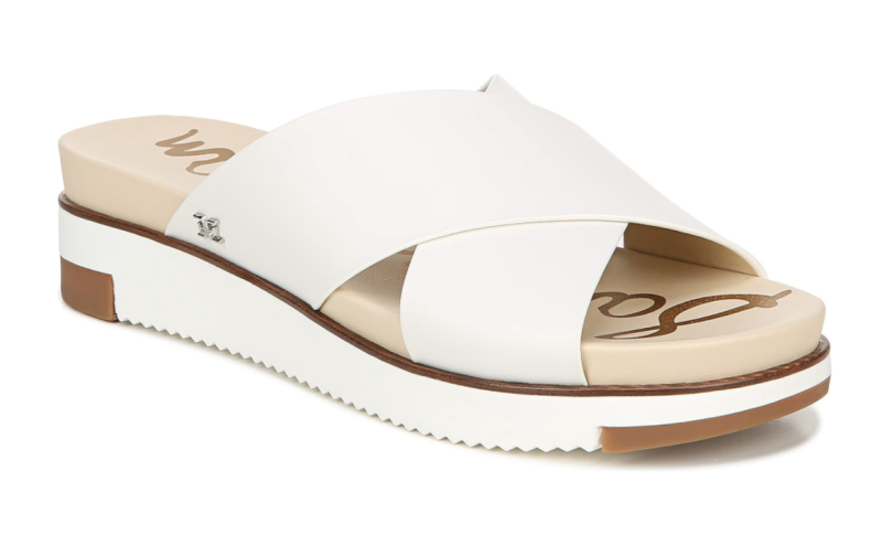 Sam Edelman Audrea Slide Sandal in Bright White Leather