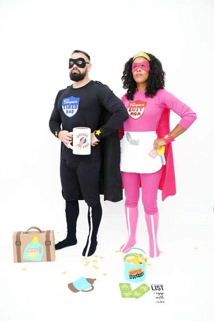 """<p>Now <em>this</em> is the costume for 2021. What parent can't relate to the Super Tired Dad and Super Tired Mom costumes crafted by blogger Amber Kemp-Gerstel? (They start with store-bought pjs!)</p><p><strong>Get the tutorial at <a href=""""https://damasklove.com/how-to-make-family-superhero-costumes-with-cricut/"""" rel=""""nofollow noopener"""" target=""""_blank"""" data-ylk=""""slk:Damask Love"""" class=""""link rapid-noclick-resp"""">Damask Love</a>.</strong></p>"""