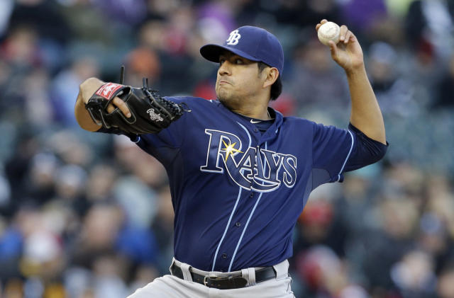 Tampa Bay Rays starter Cesar Ramos throws against the Chicago White Sox during the first inning of a baseball game in Chicago, Saturday, April 26, 2014. (AP Photo/Nam Y. Huh)