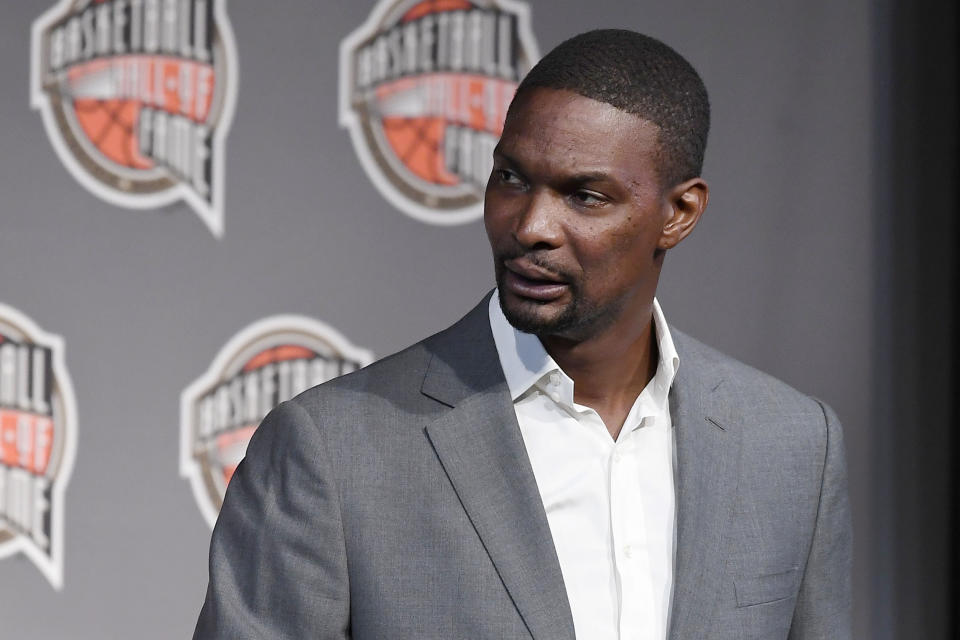 Basketball Hall of Fame Class of 2021 inductee Chris Bosh speaks at a news conference at Mohegan Sun, Friday, Sept. 10, 2021, in Uncasville, Conn. (AP Photo/Jessica Hill)