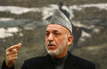 Afghan President Hamid Karzai speaks during a news conference in Kabul December 8, 2012.REUTERS/Mohammad Ismail