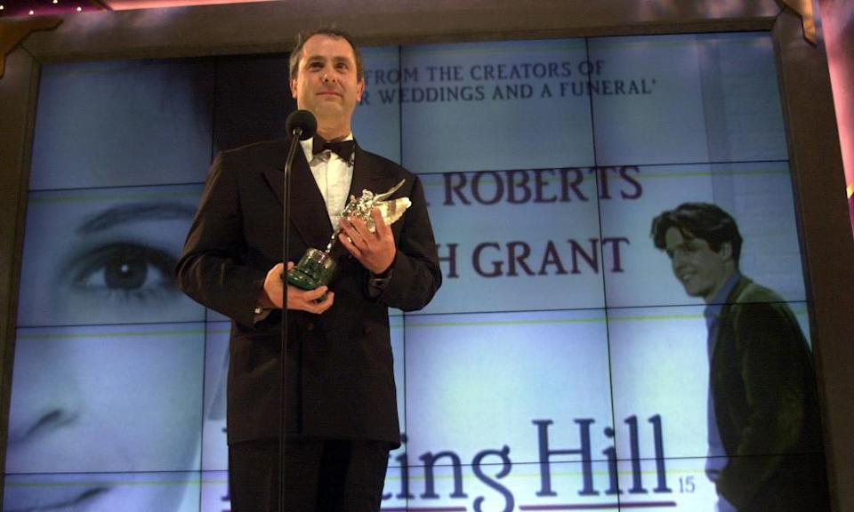 Roger Michell accepting the Peter Sellers award for comedy for his work on Notting Hill at the Evening Standard British Film Awards, 2000.