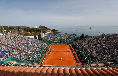 Tennis - ATP - Monte Carlo Masters - Monte-Carlo Country Club, Monte Carlo, Monaco - April 16, 2018   General view of the first round match between Serbia's Novak Djokovic and Serbia's Dusan Lajovic   REUTERS/Eric Gaillard