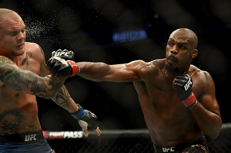 UFC light heavyweight champion Jon Jones lands a punch to the head of challenger Anthony Smith. Jones defeated Smith via unanimous judges decision during UFC 235 at the T-Mobile Arena in Las Vegas, NV, Saturday, Mar. 2, 2019. (Photo by Hans Gutknecht/MediaNews Group/Los Angeles Daily News via Getty Images)