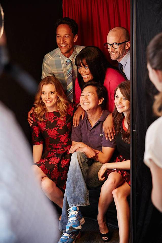 """Danny Puddi, Yvette Nicole Brown, Jim Rash, Gillian Jacobs, Ken Jeong, and Alison Brie of """"Community"""" posing for TV Guide at the 2013 Comic-Con International Convention."""