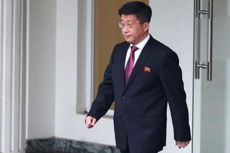 FILE PHOTO: Kim Hyok Chol, North Korea's special representative for U.S. affairs, leaves the Government Guesthouse in Hanoi