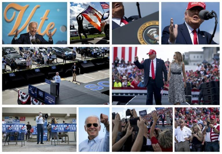Scenes from the campaign trail -- Joe Biden and Donald Trump, and their supporters, at rival events in Florida on October 29, 2020
