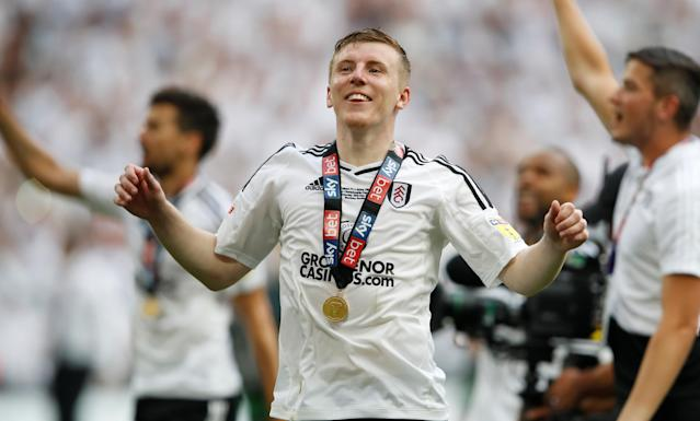"Soccer Football - Championship Play-Off Final - Fulham vs Aston Villa - Wembley Stadium, London, Britain - May 26, 2018 Fulham's Matt Targett celebrates promotion to the Premier League Action Images via Reuters/Carl Recine EDITORIAL USE ONLY. No use with unauthorized audio, video, data, fixture lists, club/league logos or ""live"" services. Online in-match use limited to 75 images, no video emulation. No use in betting, games or single club/league/player publications. Please contact your account representative for further details."
