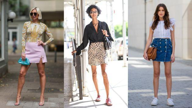 Miniskirts have appeared on many runways and street-style photo shoots of late. (Photo: Getty/Jeremy Moeller/Daniel Zuchnik/Christian Vierig)
