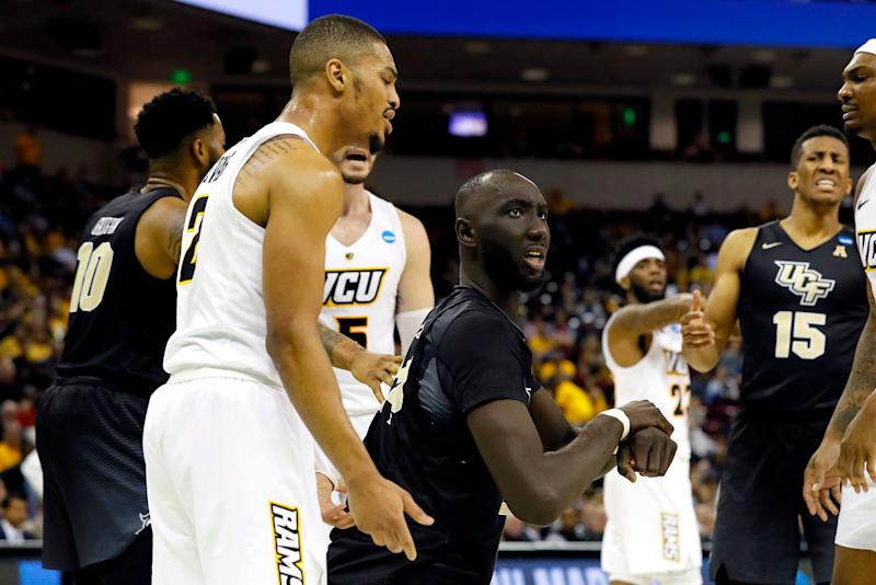 COLUMBIA, SOUTH CAROLINA - MARCH 22: Tacko Fall #24 of the UCF Knights reacts against the Virginia Commonwealth Rams in the second half during the first round of the 2019 NCAA Men's Basketball Tournament at Colonial Life Arena on March 22, 2019 in Columbia, South Carolina. (Photo by Kevin C. Cox/Getty Images)