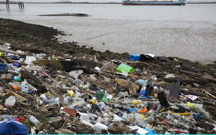 Plastics line the shore of the Thames Estuary in Cliffe, Kent - Getty