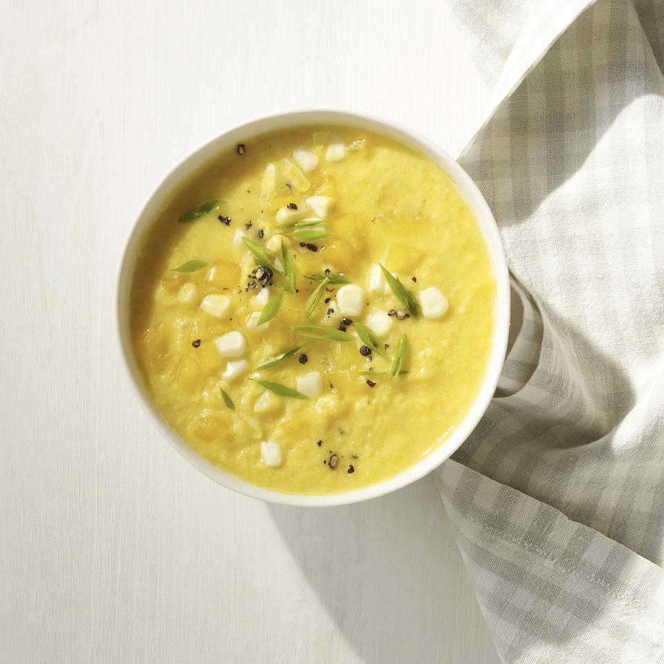 <p>The yellow vegetables of summer--fresh corn, yellow tomatoes and yellow peppers--make this slightly sweet gazpacho soup recipe a beautiful and delicious alternative to red gazpacho.</p>