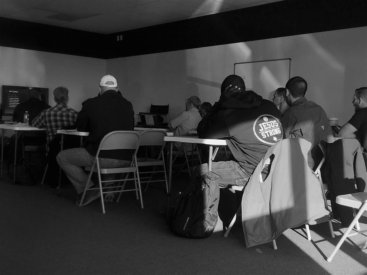 Congregants from Texas-area churches participate in a class on security and defense tactics offered by Gatekeepers Security Services in Pilot Point, Texas. (Photo: Holly Bailey/Yahoo News)
