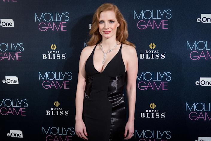 MADRID, SPAIN - DECEMBER 04: Actress Jessica Chastain attends 'Molly's Game' Madrid premiere at Callao Cinema on December 4, 2017 in Madrid, Spain. (Photo by Pablo Cuadra/WireImage)