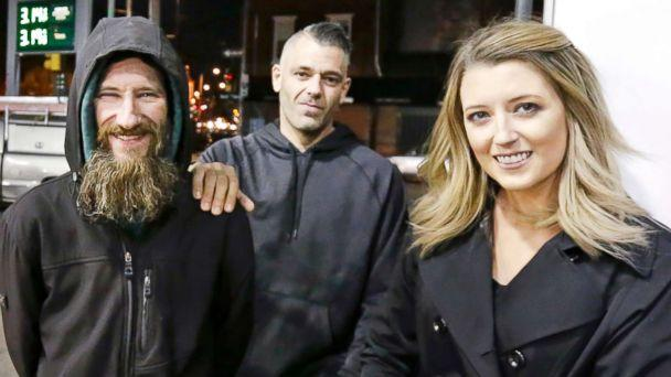 PHOTO: In this Nov. 17, 2017, file photo, Johnny Bobbitt Jr., left, Kate McClure, right, and McClure's boyfriend Mark D'Amico are pictured in Philadelphia. (Elizabeth Robertson/The Philadelphia Inquirer via AP, FILE)