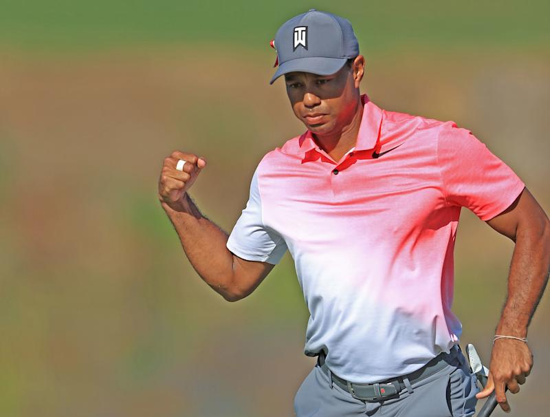 A fist pump after a made putt on Friday was a sign that Woods is starting to getting his competitive feel back.