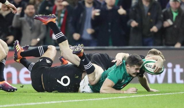 Jacob Stockdale scored the winning try as Ireland beat New Zealand 16-9 in November (Niall Carson/PA)