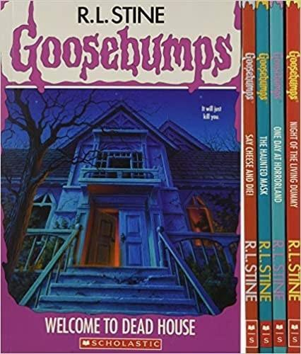 Box set of Goosebumps books, showing Welcome to Dead House, featuring a creepy and decrepit house