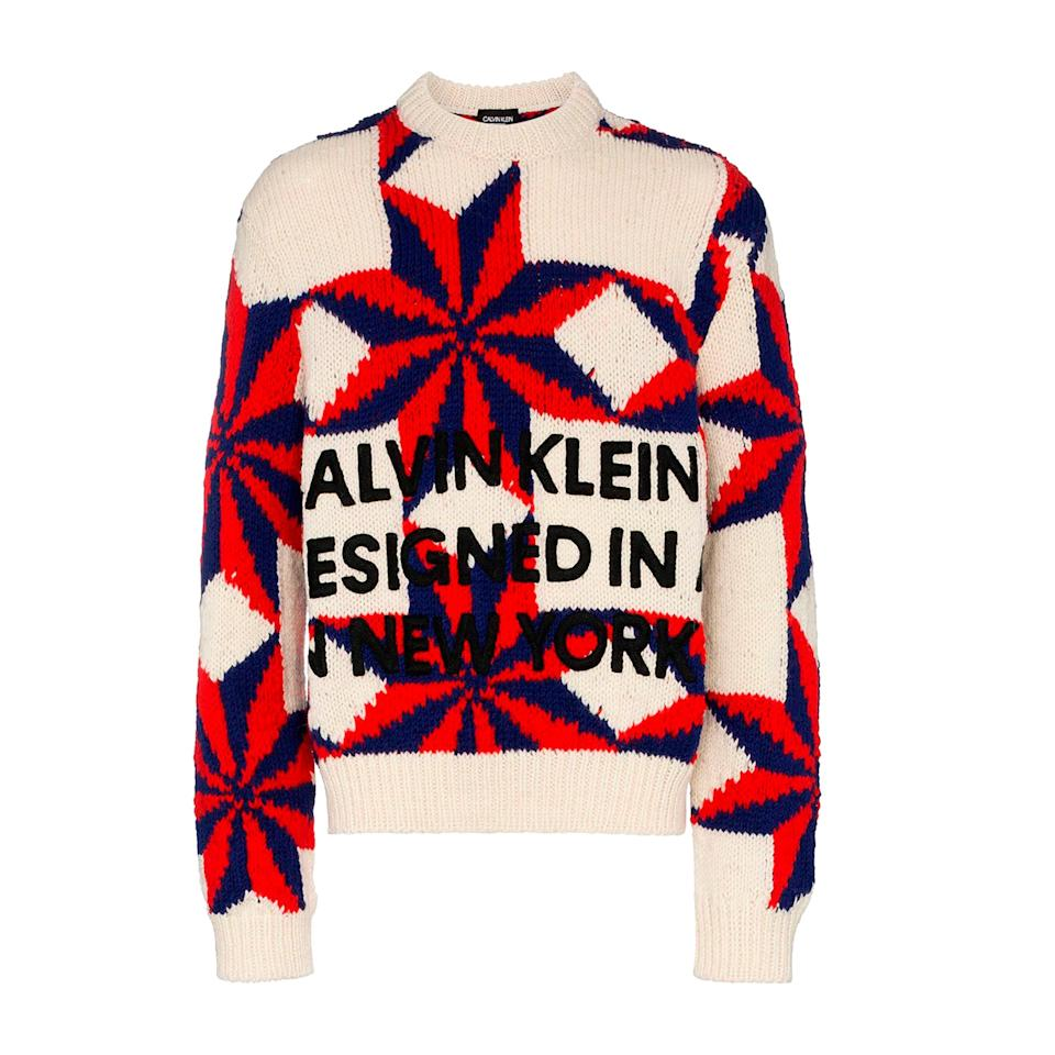 """<p>This oversize sweater has a hand-knit, homegrown appeal, and the navy and red stars are becoming a go-to motif of the Raf Simons–helmed label. A great gift idea for your fashion-forward guy.</p> <p><strong>Buy now:</strong> CALVIN KLEIN 205W39NYC sweater, $1,296, <a rel=""""nofollow"""" href=""""https://www.farfetch.com/nz/shopping/men/calvin-klein-205w39nyc-star-and-logo-wool-knit-sweater-item-12966638.aspx?storeid=9359"""">farfetch.com</a>.</p>"""