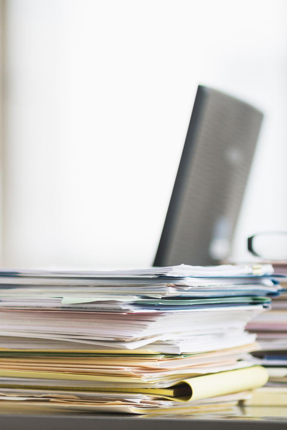 <p>Don't just shift remaining papers around your desk. Flip the stack — oldest papers now on top — for a fresh perspective and quicker action, DeBroff suggests.</p>