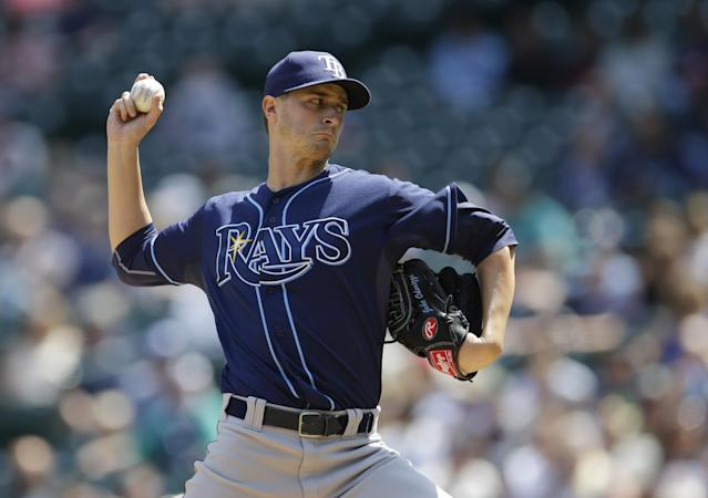 Tampa Bay Rays starting pitcher Jake Odorizzi throws against the Seattle Mariners Wednesday, May 14, 2014, in the first inning of a baseball game, in Seattle. (AP Photo)