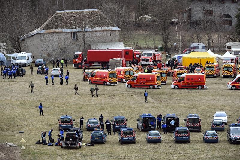 French emergency services personnel gather in Seyne, southeastern France (AFP Photo/Boris Horvat)
