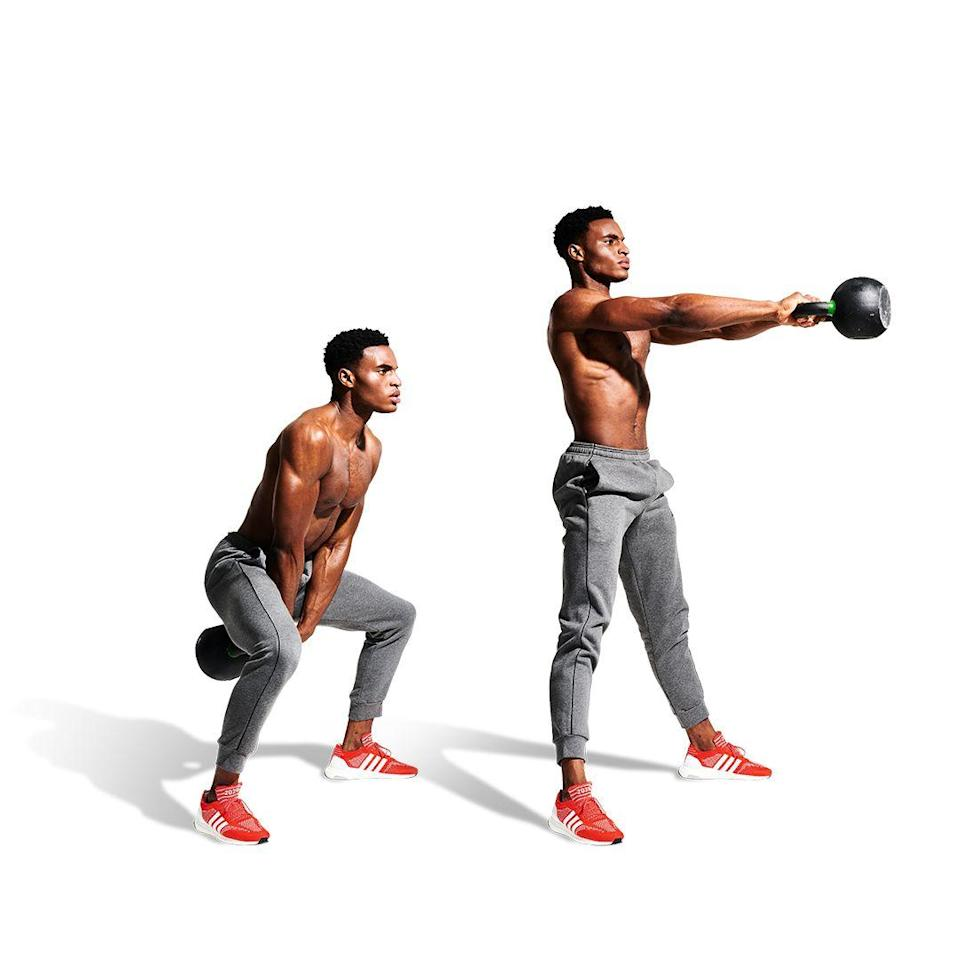 <p>Finally, hold the weight with both hands by the handle between your legs. Hinge at the hips to kick the weight back behind you (a), then extend through your hips to swing the weight through and up (b). Control the pace before your next deal with the devil.</p>