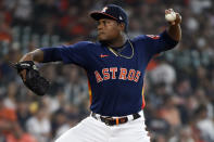 Houston Astros starting pitcher Framber Valdez delivers during the first inning of a baseball game against the Chicago White Sox, Saturday, June 19, 2021, in Houston. (AP Photo/Eric Christian Smith)
