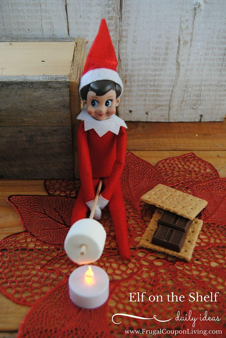 """<p>Everybody loves the classic campfire snack—even elves.</p><p><strong>Get the tutorial at <a href=""""https://www.frugalcouponliving.com/elf-on-the-shelf-ideas-elf-makes-smores/"""" rel=""""nofollow noopener"""" target=""""_blank"""" data-ylk=""""slk:Frugal Coupon Living"""" class=""""link rapid-noclick-resp"""">Frugal Coupon Living</a>.</strong></p><p><a class=""""link rapid-noclick-resp"""" href=""""https://www.amazon.com/Flameless-Candles-Battery-Holidays-Decoration/dp/B0799G5W6Y/ref=sr_1_5?tag=syn-yahoo-20&ascsubtag=%5Bartid%7C10050.g.22690552%5Bsrc%7Cyahoo-us"""" rel=""""nofollow noopener"""" target=""""_blank"""" data-ylk=""""slk:SHOP LED TEA LIGHTS""""><strong>SHOP LED TEA LIGHTS</strong> </a></p>"""