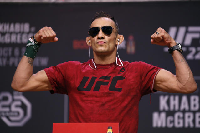 Tony Ferguson will headline UFC 249 with a fight against Justin Gaethje. (AP Photo/John Locher, File)