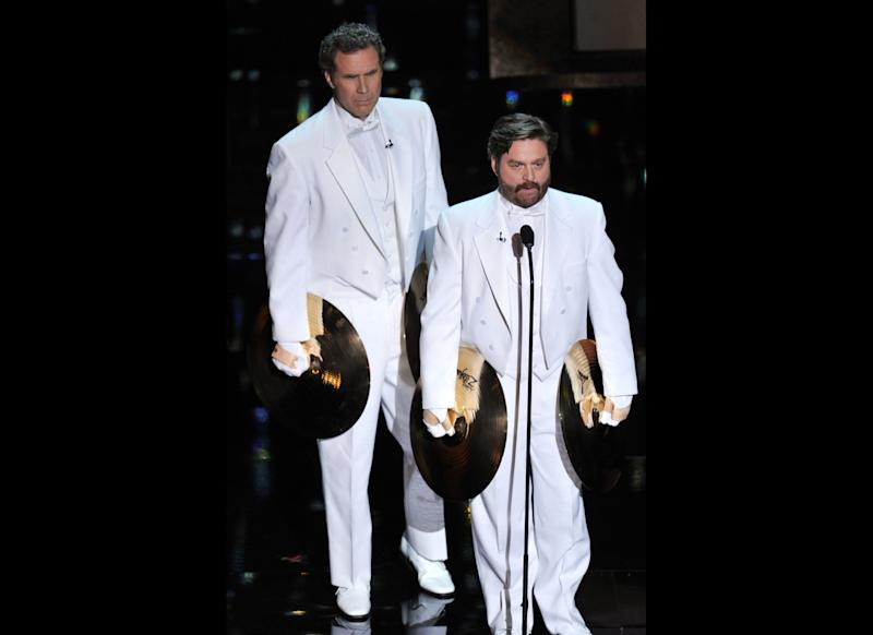 Presenters Will Ferrell (L) and Zach Galifianakis speak onstage during the 84th Annual Academy Awards held at the Hollywood & Highland Center on February 26, 2012 in Hollywood, California. (Photo by Kevin Winter/Getty Images)