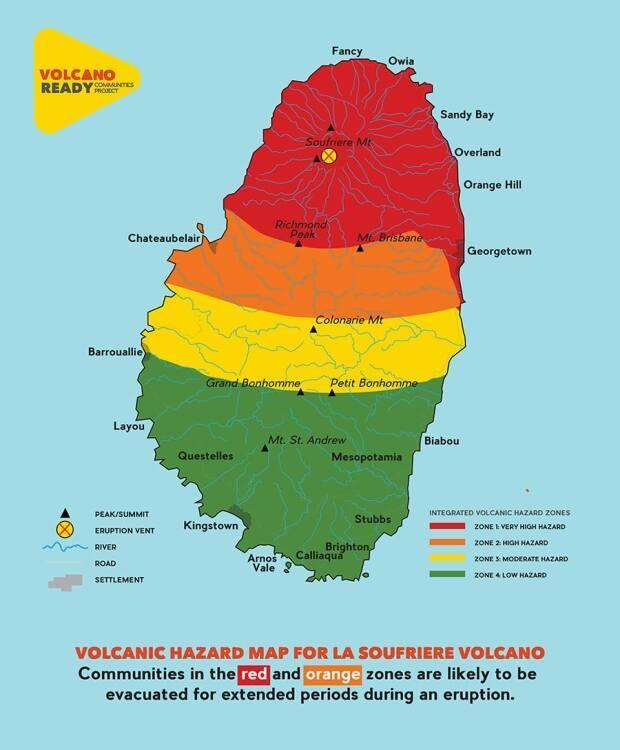 The town of Colonarie is in the yellow zone of the St. Vincent and the Grenadines emergency management volcanic hazard map.