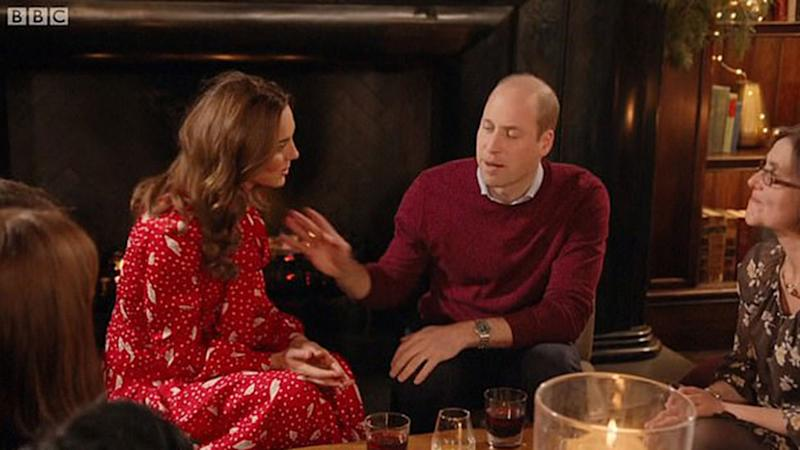 Kate Middleton in red dress and Prince William in red jumper on A Berry Royal Christmas,