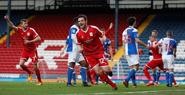 Soccer Football - FA Cup Second Round - Blackburn Rovers vs Crewe Alexandra - Ewood Park, Blackburn, Britain - December 3, 2017 Chris Porter (L) celebrates after he scores Crewe's third goal Action Images/Carl Recine