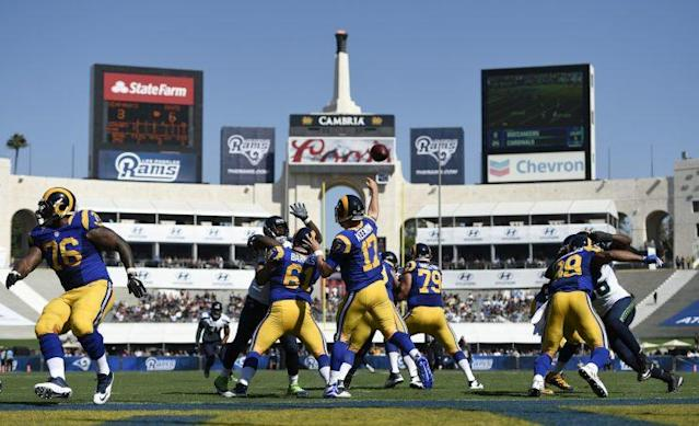 Many fans had complaints about the experience at the Los Angeles Coliseum in the Rams' first regular-season game. (AP)