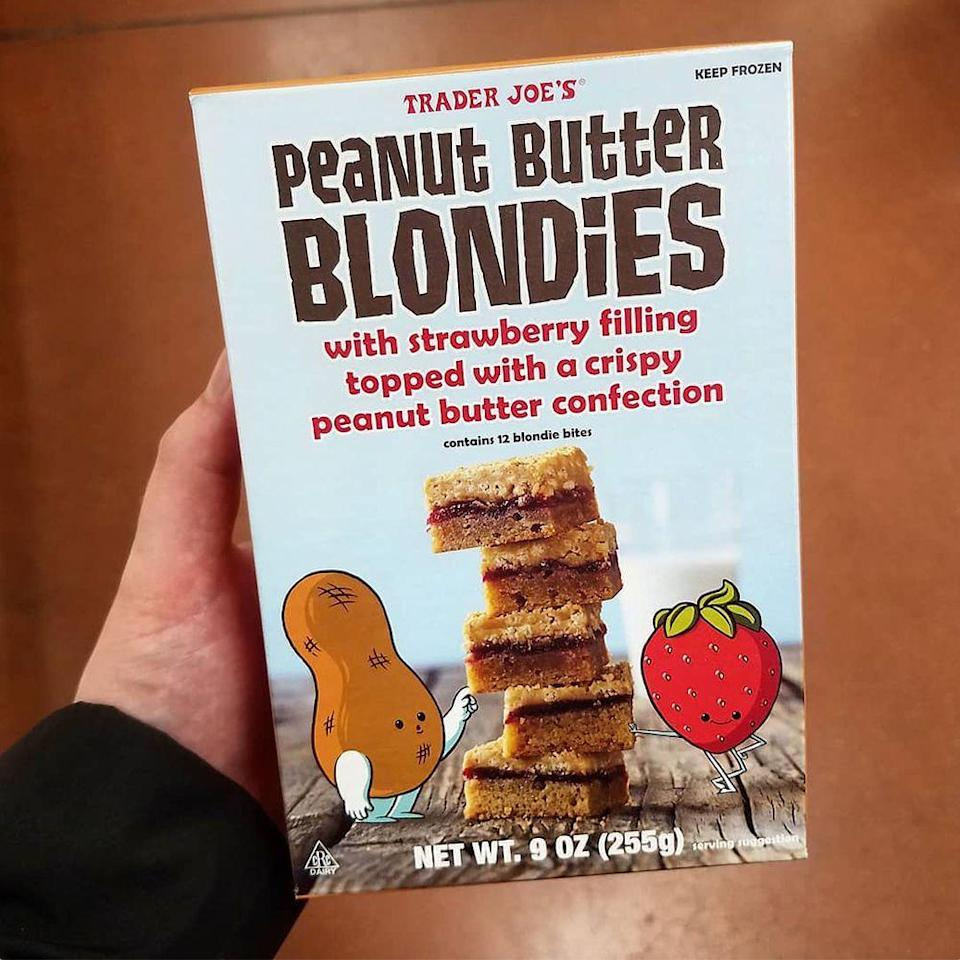 """<p>Trader Joe's is giving us a new way to eat peanut butter and jelly! Peanut Butter Blondies are layered with strawberry filling and topping with a crispy peanut butter confection.</p><p>One package contains 12 blondie bites and are meant to be kept frozen. According to Instagram account @candyhunting, you're supposed to <a href=""""https://www.instagram.com/p/Bw23r5FBOgY/"""" rel=""""nofollow noopener"""" target=""""_blank"""" data-ylk=""""slk:thaw them at room temperature for 1 hour"""" class=""""link rapid-noclick-resp"""">thaw them at room temperature for 1 hour</a> or in the fridge for 4 hours.</p>"""