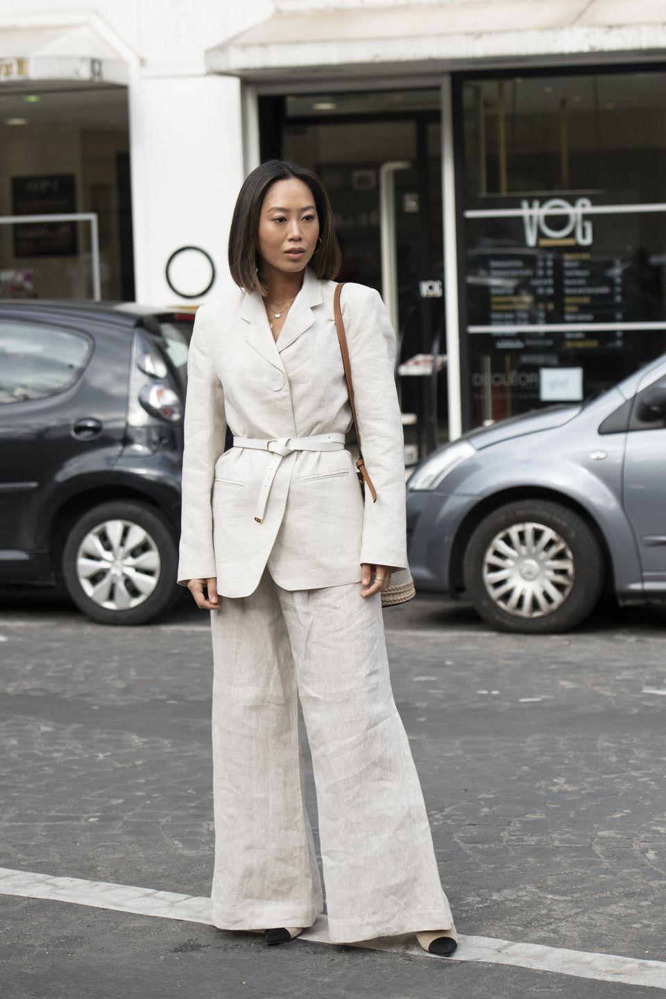<p>Up the ante in a full suit à la Aimee Song's '70s-inspired set.</p>