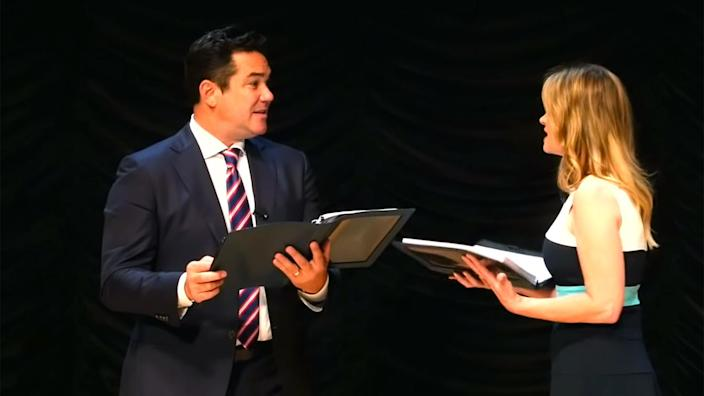"""Dean Cain and Kristy Swanson star in """"FBI Lovebirds: Undercovers."""" (Screengrab via 'The Ann and Phelim Scoop'/YouTube)"""