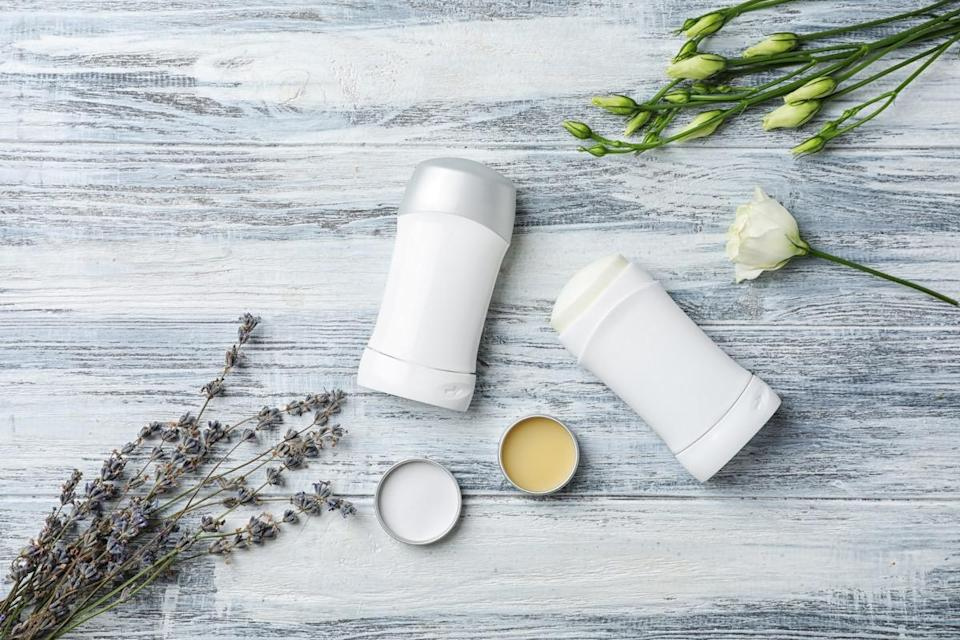 """<span>You may have heard that there's a link between deodorant and breast cancer. </span><span>That's because many antiperspirants contain aluminum-based compounds, which, if absorbed by the skin near the breast area, are rumored to affect estrogen receptors of breast cells, according to the <a href=""""https://www.cancer.org/cancer/cancer-causes/antiperspirants-and-breast-cancer-risk.html"""" rel=""""nofollow noopener"""" target=""""_blank"""" data-ylk=""""slk:American Cancer Society"""" class=""""link rapid-noclick-resp"""">American Cancer Society</a>. </span> <span>""""Some scientists have suggested that using the aluminum-based compounds in antiperspirants may be a risk factor for the development of breast cancer,"""" they explain. </span><span>But </span><span>the <a href=""""https://www.cancer.gov/about-cancer/causes-prevention/risk/myths/antiperspirants-fact-sheet?redirect=true#r1"""" rel=""""nofollow noopener"""" target=""""_blank"""" data-ylk=""""slk:National Cancer Society"""" class=""""link rapid-noclick-resp"""">National Cancer Society</a> notes """"no scientific evidence links the use of these products to the development of breast cancer."""" </span> <span>The lack of evidence exists because it's hard to isolate the causes of cancer. </span><span>For example, a 2003 </span><a href=""""https://insights.ovid.com/pubmed?pmid=14639125"""" rel=""""nofollow noopener"""" target=""""_blank"""" data-ylk=""""slk:study"""" class=""""link rapid-noclick-resp""""><span>study</span></a><span> published in <em>European Journal of Cancer Prevention </em>showed that breast cancer survivors who used deodorant regularly were diagnosed at a younger age than the women who did not regularly use it. Still, researchers concluded that """"combined habits are likely for this earlier age of diagnosis … It is not clear which of these components are involved."""" </span> <span>All that said, there's no downside to switching to a natural deodorant.</span>"""
