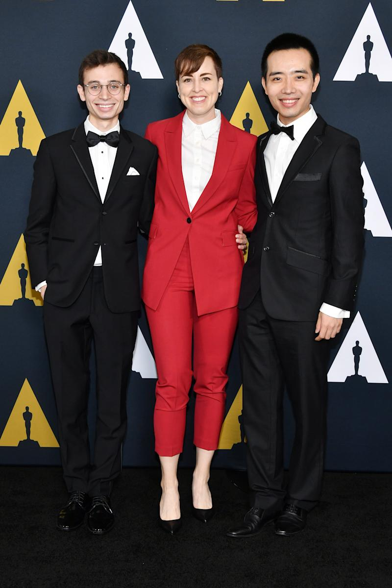 Omer Ben-Shachar, Asher Jelinsky and Hao Zheng attend the 46th Student Academy Awards at the Academy of Motion Picture Arts and Sciences on October 17, 2019.