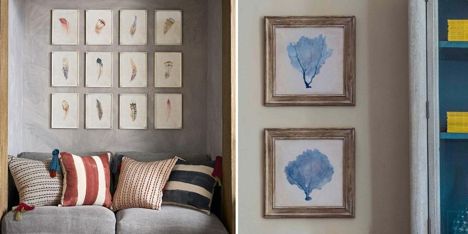 """<p>The charm of a quintissential <a href=""""https://www.countryliving.com/uk/homes-interiors/interiors/a1734/how-to-achieve-country-cottage-style/"""" rel=""""nofollow noopener"""" target=""""_blank"""" data-ylk=""""slk:country home"""" class=""""link rapid-noclick-resp"""">country home</a> is usually found in its abundance of styles and periods, owing to the fact that it has probably been passed between generations – or at least made to look as if it has. The country home collects, adds and mixes, ignoring the old maxim that less is more.</p><p>When it comes to wall art, the same approach applies. Country homes will display family portraits, inherited artwork, modern prints, drawings and doodles from grandchildren, and there won't be a matching frame between them. </p><p>A natural fit for country wall art is, of course, the great outdoors. Prints featuring pastoral scenes, <a href=""""https://www.countryliving.com/uk/homes-interiors/gardens/a20120884/most-cost-effective-vegetables-grow-home-garden/"""" rel=""""nofollow noopener"""" target=""""_blank"""" data-ylk=""""slk:vegetables"""" class=""""link rapid-noclick-resp"""">vegetables</a> from the garden, plants and <a href=""""https://www.countryliving.com/uk/homes-interiors/gardens/a33543460/how-bring-more-wildlife-small-garden/"""" rel=""""nofollow noopener"""" target=""""_blank"""" data-ylk=""""slk:wildlife"""" class=""""link rapid-noclick-resp"""">wildlife</a>, all invite the idyllic country life into your home. If you're looking to achieve a similar effect, abundance and personal taste is key - choose what you love most, rather than what matches your surroundings, and choose a lot of it. </p><p>We've collected 21 country wall art ideas - from illustrations of handsome chickens, to dreamy watercolour meadows - to help you bring the outdoors in.<br></p>"""