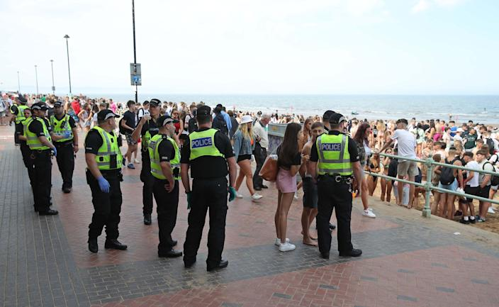 Police at Portobello beach broke up large crowds (Picture: Getty)