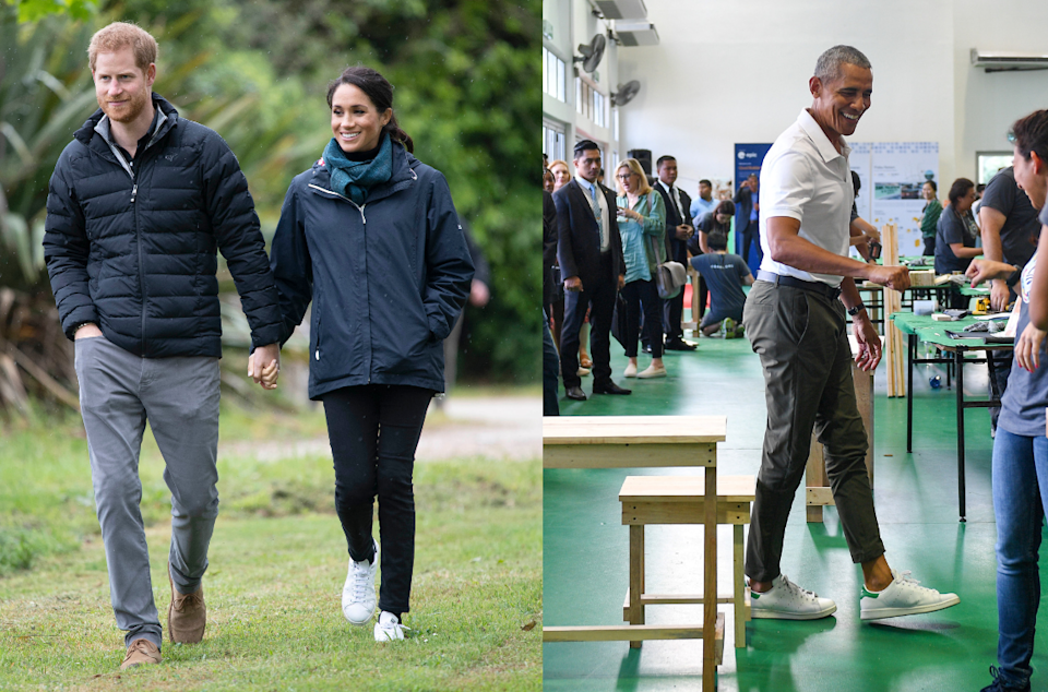 Meghan Markle and Barack Obama are among Stan Smith sneakers' most famous fans. Photos by Paul Edwards - Pool/Getty Images, Mohd Rasan/AFP via Getty Images)