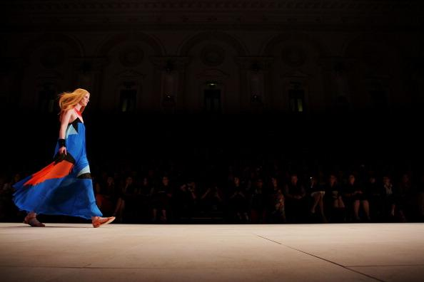 A model showcases designs by Suboo on the catwalk during the Fashion Week Australia Review presented by Marie Claire as part of Mercedes Benz Fashion Festival Sydney 2012 at Town Hall on August 24, 2012 in Sydney, Australia. (Photo by Lisa Maree Williams/Getty Images)