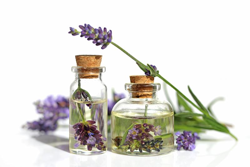 Bottles of lavender oil surrounded by lavender sprigs.